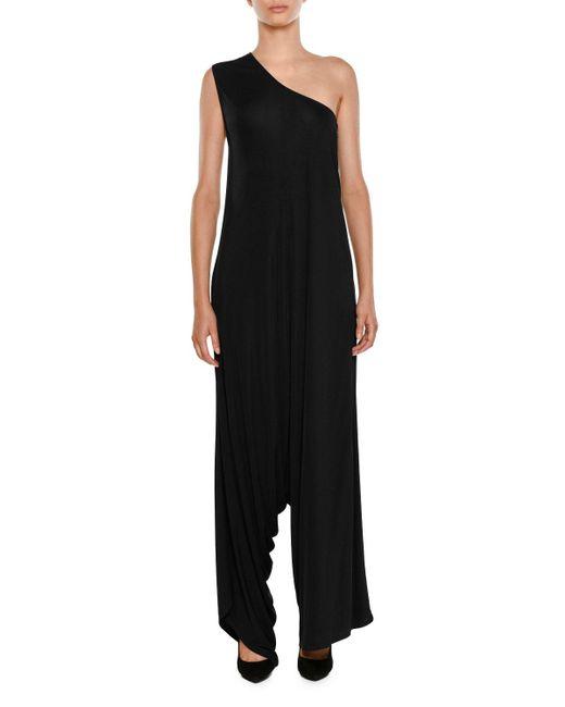 Stella McCartney - Black One-shoulder Wide-leg Knit Jumpsuit - Lyst