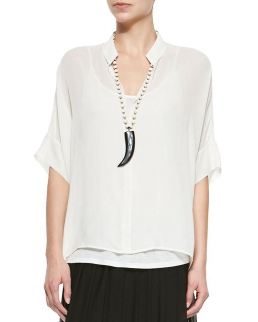 Eileen Fisher - Black 3/4-sleeve Silk Box Top - Lyst