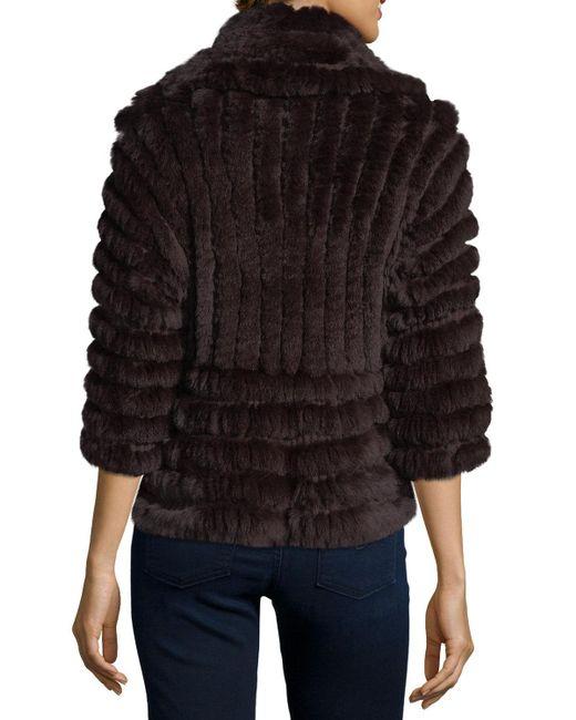 Neiman Marcus | Black Luxury Knit Rabbit Fur Striped Shrug | Lyst
