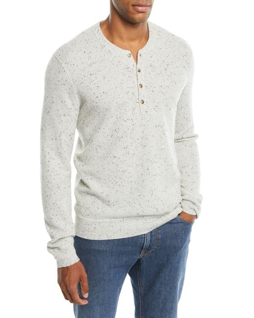 Neiman Marcus - White Men's Crewneck Speckled Cashmere Henley Sweater for Men - Lyst