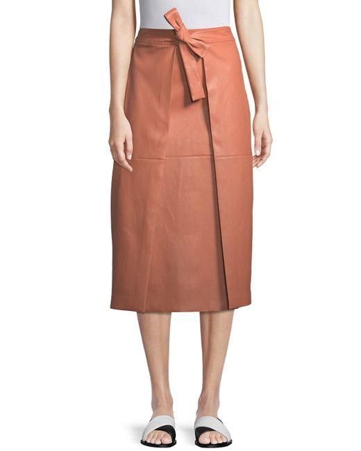 Rosetta Getty - Pink A-line Lambskin Leather Invert Apron Wrap Skirt - Lyst