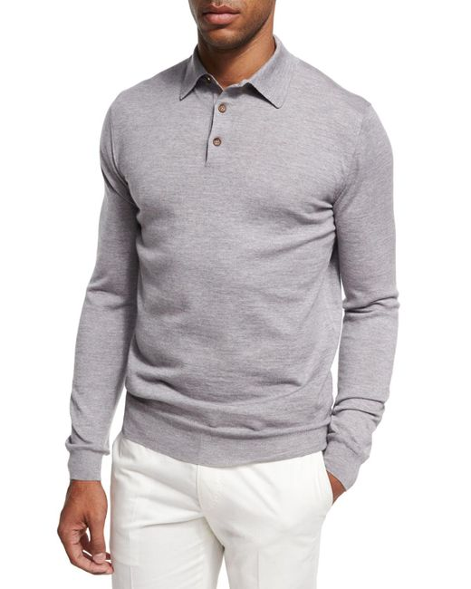 Ermenegildo Zegna - Gray Lt Gry Ls Polo Swtr for Men - Lyst
