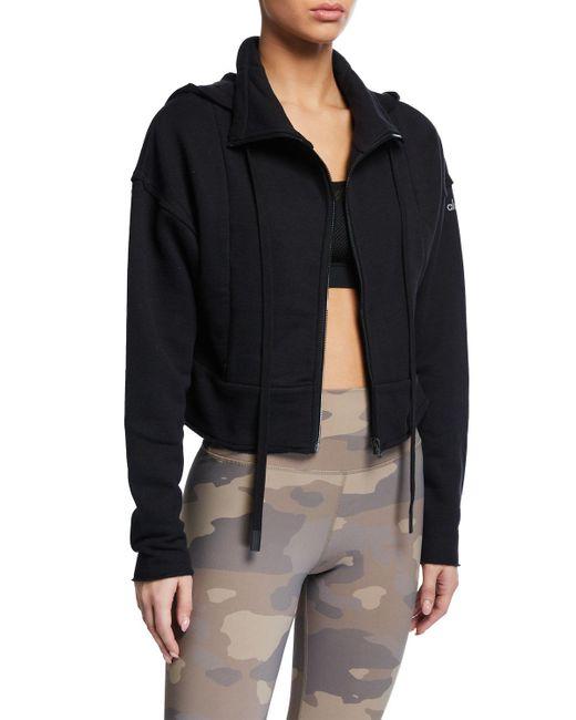 Alo Yoga Black Trail Hooded Cropped Jacket