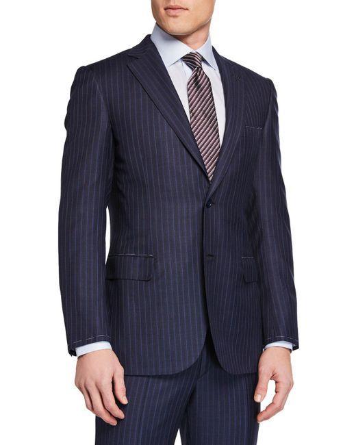 Brioni Blue Men's Stripe Two-piece Suit for men