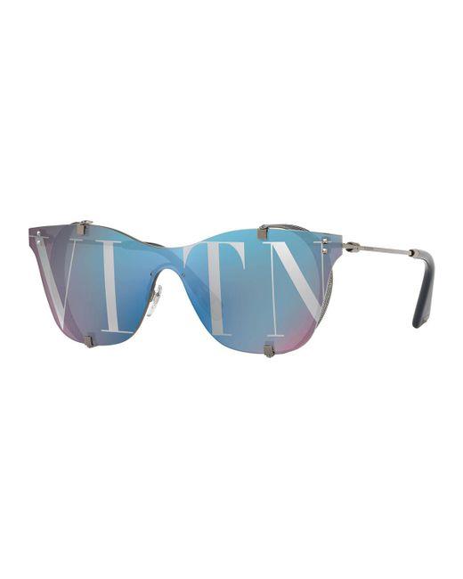 Valentino - Blue Square Side-blinder Sunglasses - Lyst