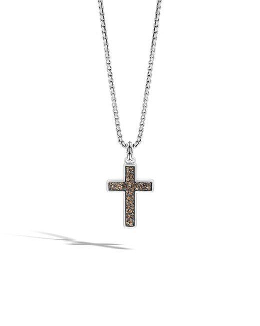 John Hardy - Metallic Men's Lava Smoky Quartz Cross Pendant Necklace for Men - Lyst