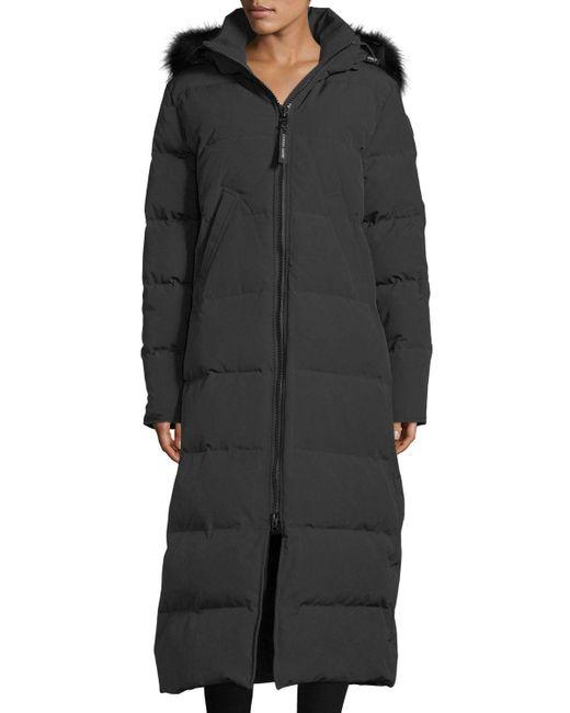 Canada Goose - Black Mystique Long Hooded Puffer Parka Coat W/ Fur Trim - Lyst