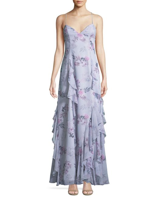 Fame & Partners - Blue The Nav Ruffled Floral Sleeveless Gown - Lyst