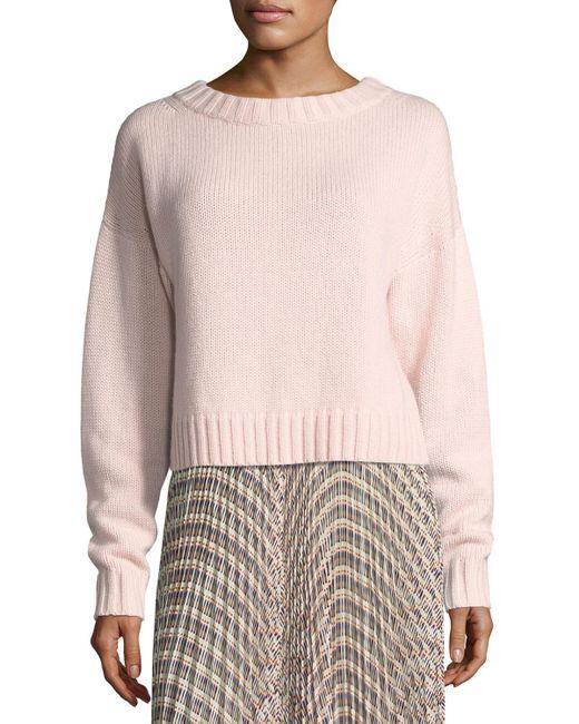 Derek Lam - Pink Cropped Cotton-cashmere Sweater - Lyst