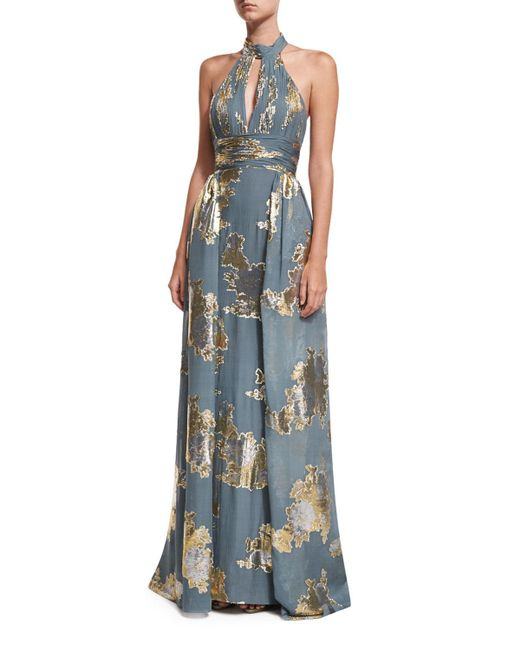Jovani | Metallic Shirred Keyhole Evening Gown W/ Train | Lyst