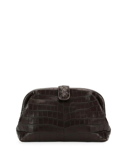 Bottega Veneta | Black The Lauren 1980 Soft Croc Clutch Bag | Lyst