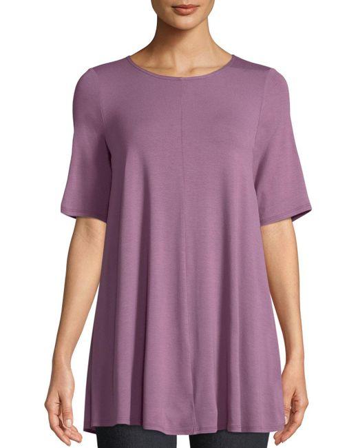 Eileen Fisher - Purple Short-sleeve Jersey Tunic - Lyst