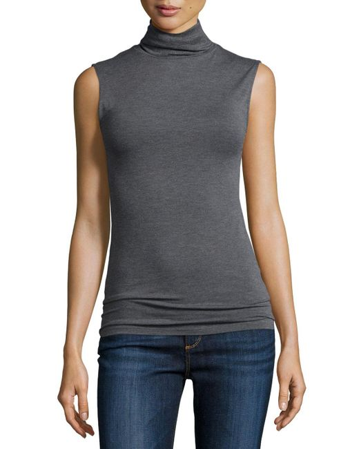 Neiman Marcus   Gray Soft Touch Sleeveless Stretch Turtleneck   Lyst