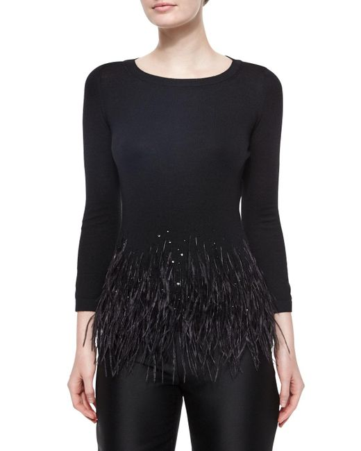 Carolina Herrera - Black Feather Trimmed Knit Top - Lyst
