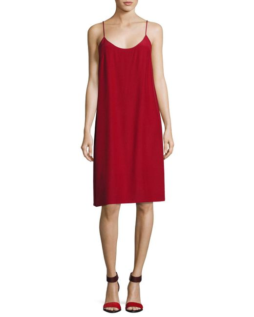 Robert Rodriguez | Red Silk Crepe Slip Dress | Lyst