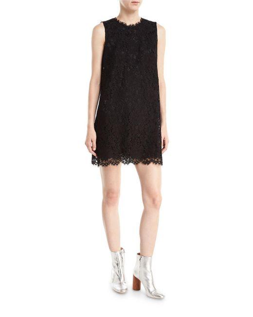 Dolce & Gabbana | Black Sleeveless Lace Shift Mini Dress | Lyst