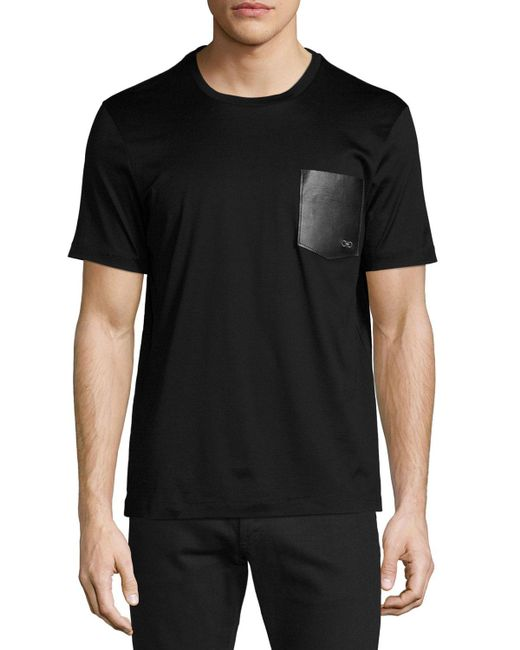 Ferragamo | Black Men's Gancini Leather-pocket T-shirt for Men | Lyst