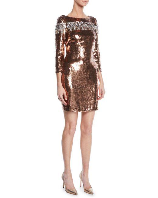 487f33a17a036 Aidan Mattox - Brown Women s Embellished Sequin Cocktail Dress - Light Fig  - Size 18 -