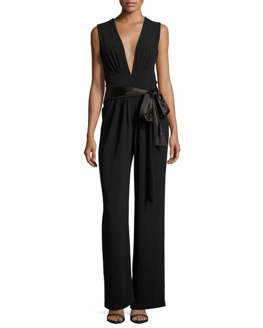 Halston Heritage - Black Sleeveless Wide-leg Plunging Jumpsuit W/ Satin Belt - Lyst