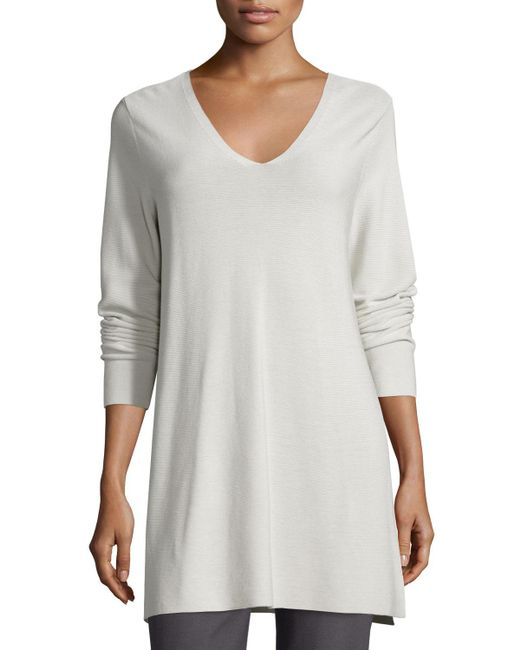 Eileen Fisher | Gray Crisp Cotton Links Long-sleeve V-neck Tunic | Lyst