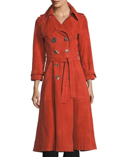 Rejina Pyo | Orange Kirsten Double-breasted Suede Trench Coat | Lyst