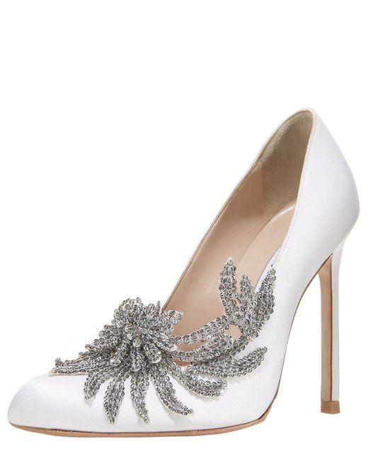 Manolo Blahnik - White Swan Embellished Satin Pump - Lyst