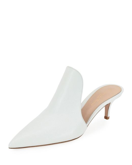 Gianvito Rossi - White Pointed-toe Calf Leather High-vamp Mule - Lyst