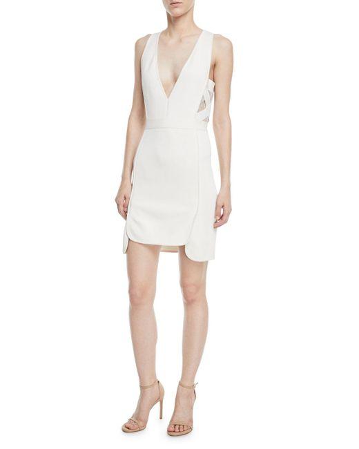 Elie Saab - White Sleeveless Deep-v Crepe Sheath Dress W/ Lace Sides - Lyst