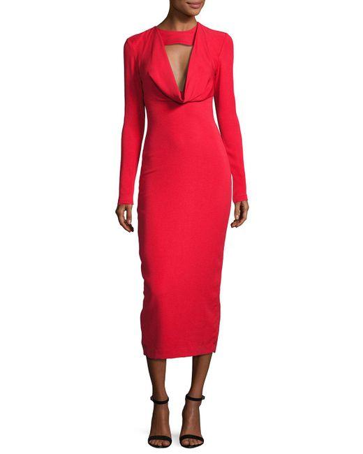 Cushnie et Ochs - Red Pencil Dress With Cowl - Lyst