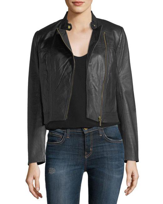 MICHAEL Michael Kors - Black Leather Moto Jacket - Lyst