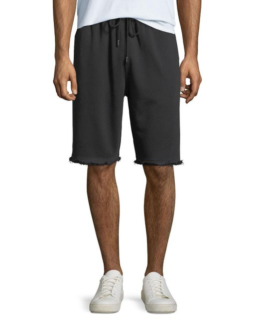 Helmut Lang - Black Men's Distressed-hem Knit Shorts for Men - Lyst