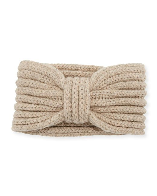 Rosie Sugden - Natural Cashmere Knotted Ear Warmer Headband - Lyst
