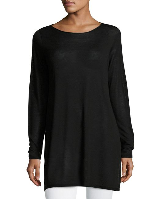 Eileen Fisher | Brown Long-sleeve Seamless Knit Ballet-neck Tunic | Lyst