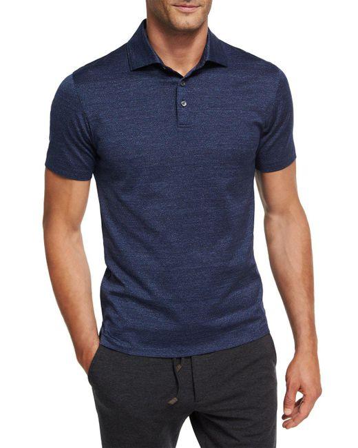 Ermenegildo Zegna | Blue Zigzag Melange Cotton Polo Shirt for Men | Lyst