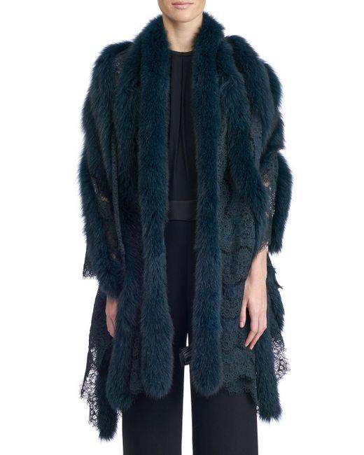 Gorski - Green Fox Fur And Lace Shawl - Lyst