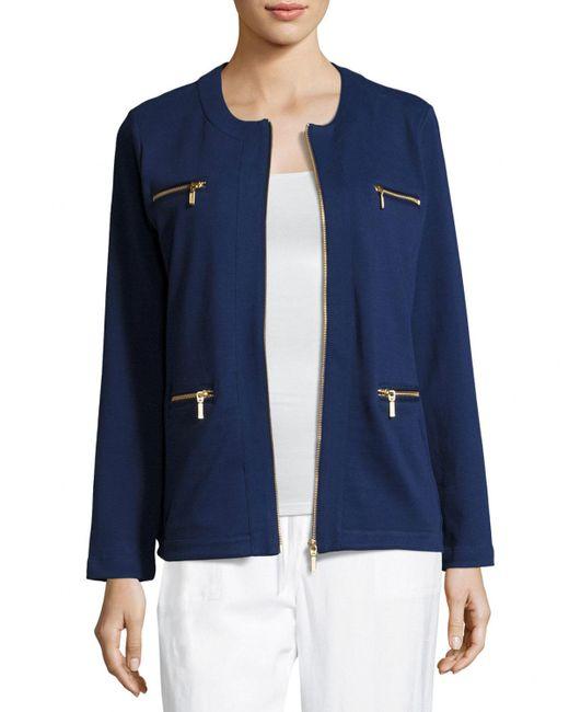 Joan Vass - Blue Stretch Interlock Zip-front Jacket - Lyst