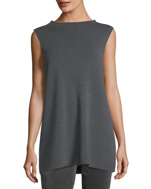 Eileen Fisher - Multicolor Mock-neck Sleeveless Washable Crepe Tunic Plus Size - Lyst