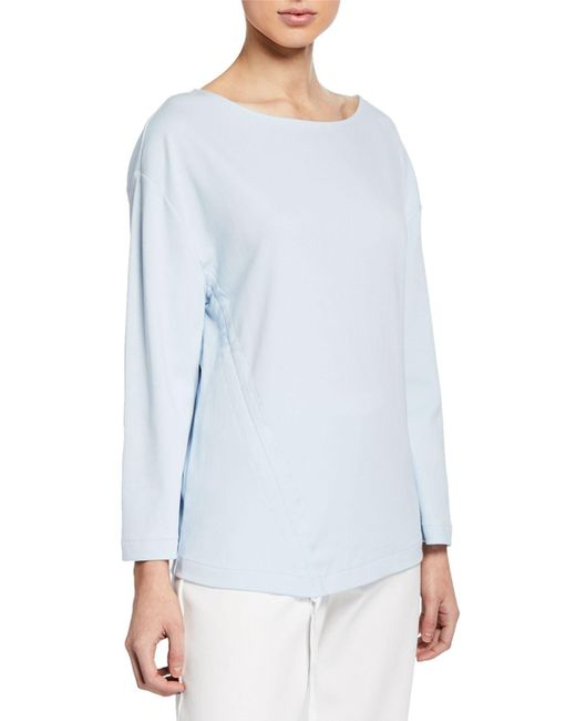 Joan Vass Blue Plus Size Long-sleeve Cotton Interlock Top With Ruching & Tie Detail