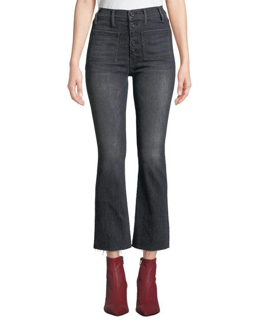 Mother - Black The Patch Pocket Hustler Frayed Boot-cut Jeans - Lyst