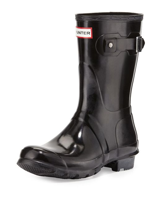 Hunter - Black Original Short Gloss Boot - Lyst