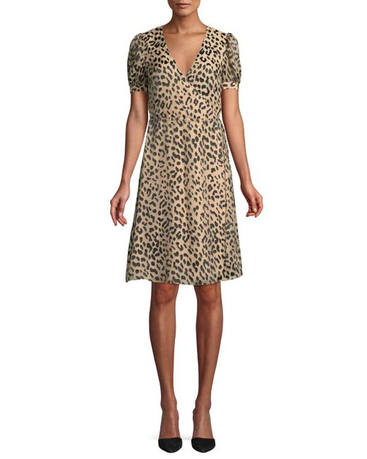 Alice + Olivia - Natural Rosette Leopard-print Wrap Dress - Lyst
