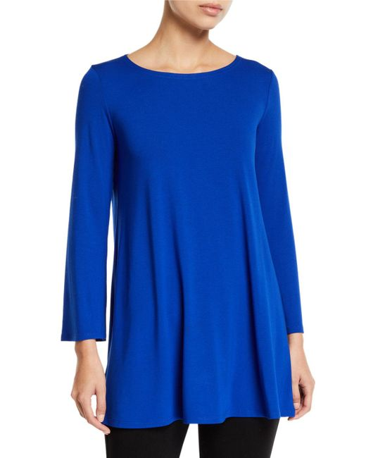Eileen Fisher - Blue Petite Wide-sleeve Ballet-neck Viscose Jersey Tunic - Lyst