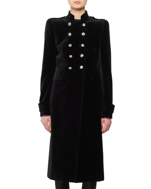 Tom Ford - Black Double-breasted Stand-collar Velvet Military Coat - Lyst