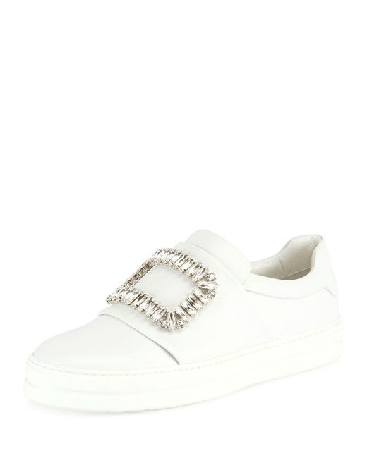 Roger Vivier - White Leather Strass Buckle Sneaker - Lyst