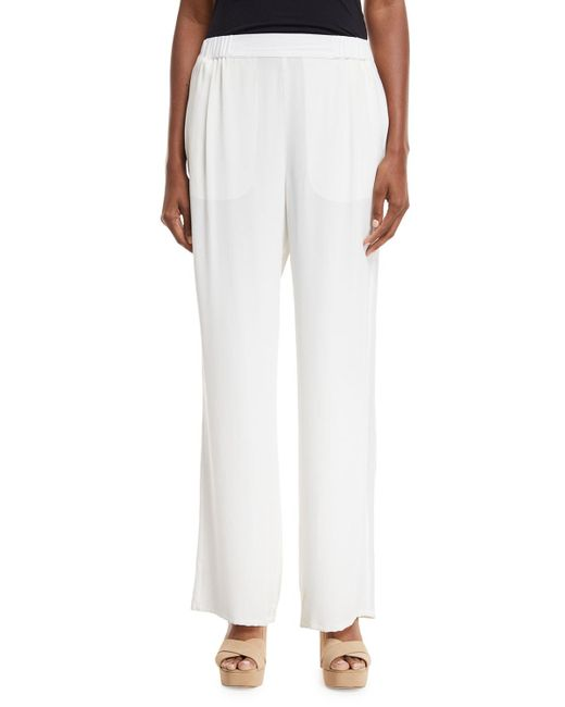 Go> By Go Silk - White Silk Crepe Easy Contrast-trim Pants - Lyst