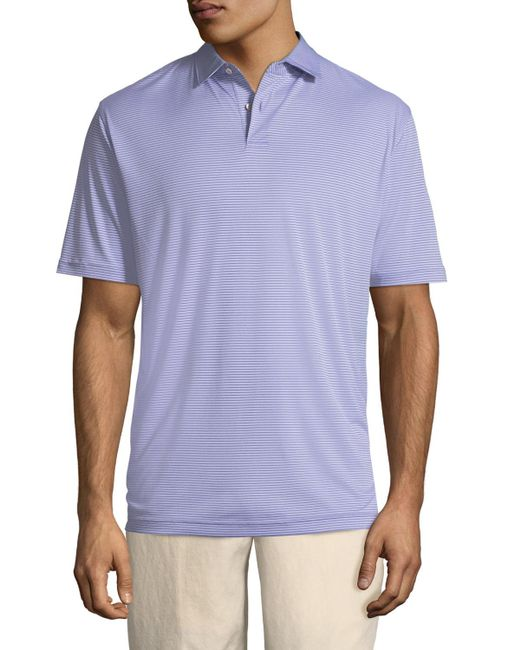 Peter Millar - Purple Featherweight Melange-stripe Polo Shirt for Men - Lyst