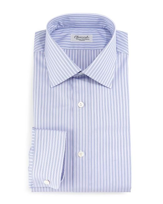 Charvet - Purple Striped Barrel-cuff Dress Shirt for Men - Lyst