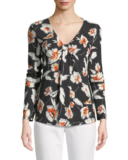 St. John - Black Modern Floral Jersey V-neck Long-sleeve Tee - Lyst