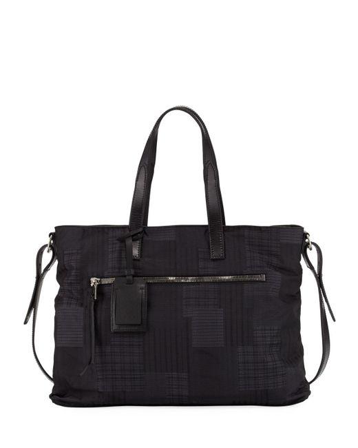 John Varvatos | Black Plaid-print Nylon Shopper Bag | Lyst