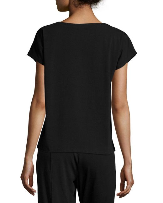 Eileen Fisher | Black Short-sleeve Bateau-neck Jersey Top | Lyst